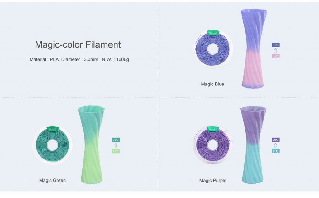 Winbo's magic color filament that changes at different temperatures. Image via: the company's website.