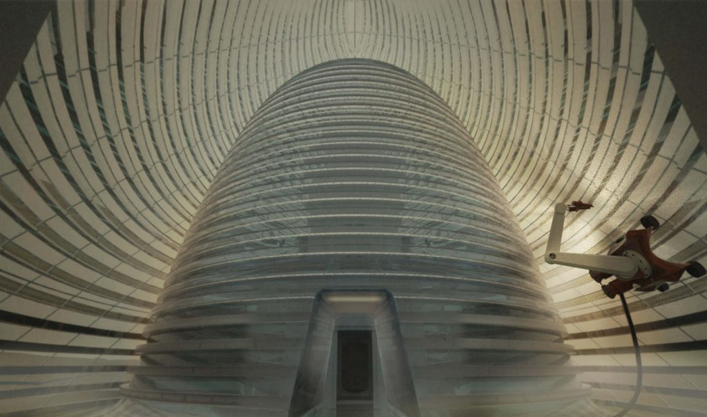 The 3D printed Mars Ice House concept by SEArch (Space Exploration Architecture) and Clouds AO (Clouds Architecture Office) Image via mars icehouse.com