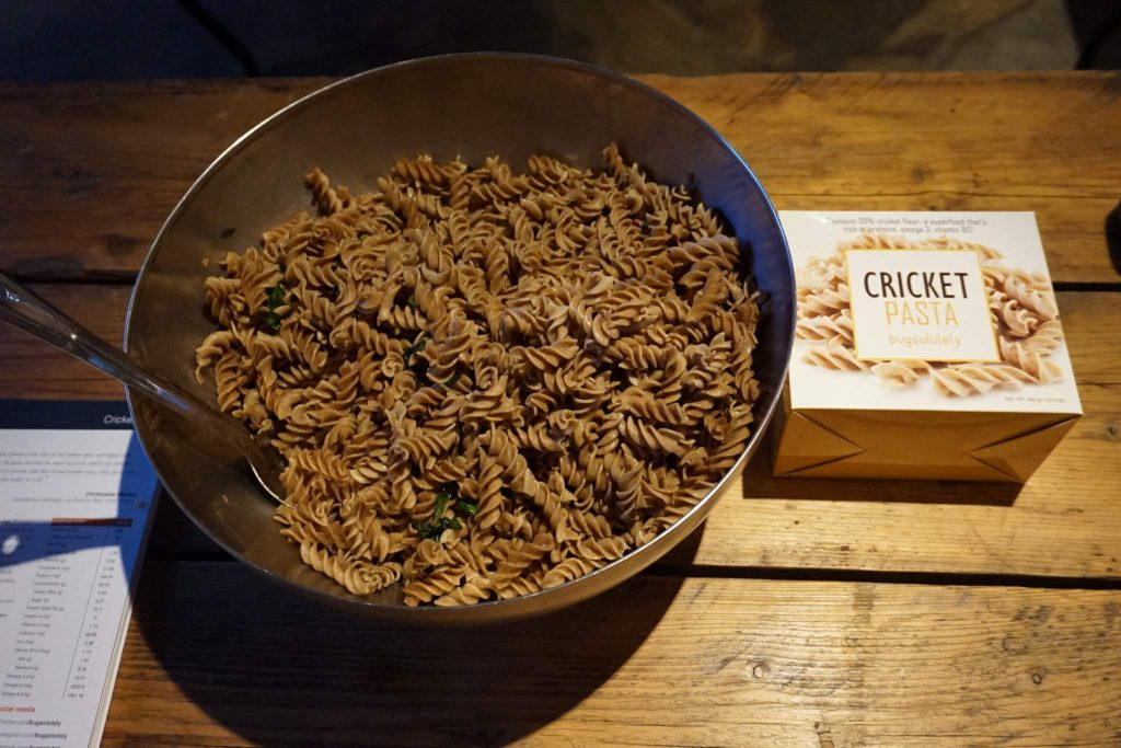 Bugsolutely brought pasta made with cricket flour to the event.