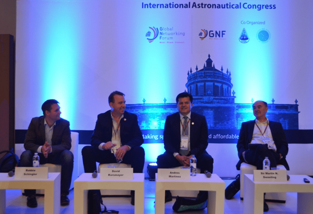Robbie Schingler (Planet), Dr. David Korsmayer (NASA), Andres Martinez (AES) and Sir Martin Sweeting (SSTL) (left-right) at 67th IAC