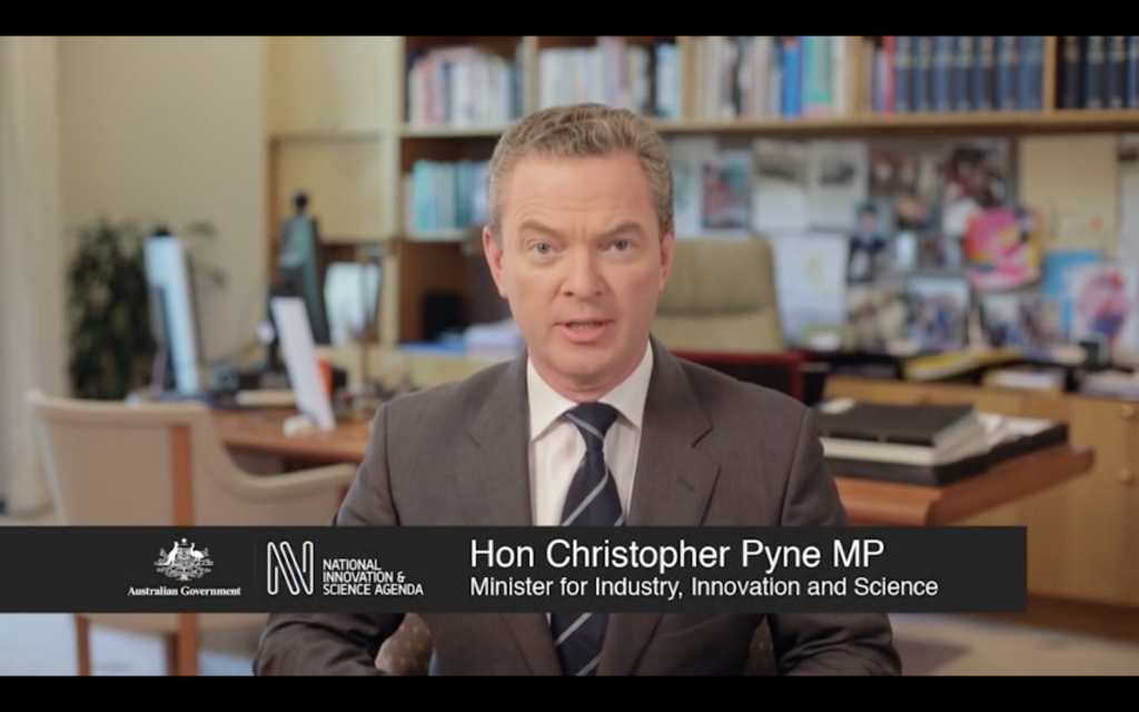 Hon Christopher Pyne MP, Industry, Innovation and Science Minister, speaking for the National Innovation and Science Agenda. Image via: innovation.gov.au