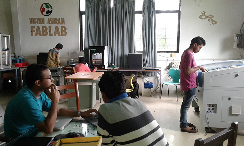 Inside the fab lab at Vigyan Ashram