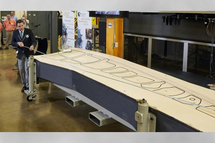 The Boeing trim tool by Oak Ridge National Laboratory measures in at 17.5 ft long, 5.5 ft wide and 1.5 ft tall.