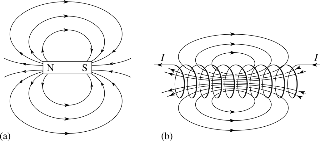 The shape of magnetic fields are determined by the shape of the magnet (and sometimes other reactive magnetic forces) Above shows the magnetic fields of a typical bar magnet (left) and an electromagnet (right). Image via: http://physics.stackexchange.com
