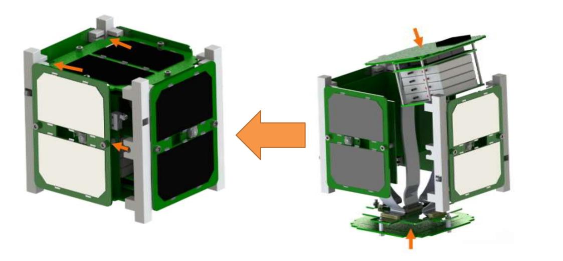 MakerSat's 3D printed frame snaps easily
