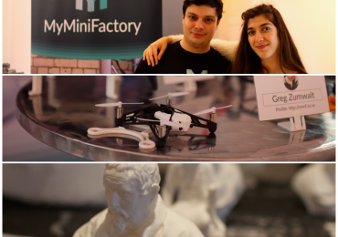 My Mini Factory at Digical show, with Parrot and 3DRobitics competition drones (center) and a bust from Scan the World (bottom). Photo via: iMakr at Digical