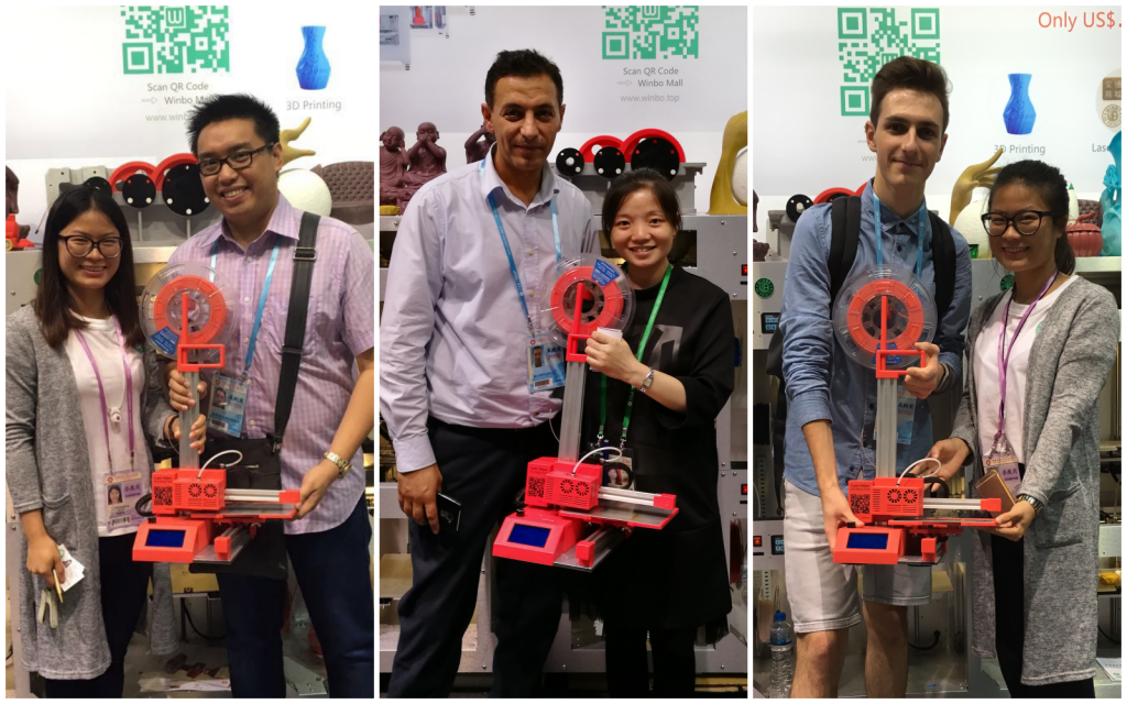 Some happy buyers and the Super Helper with Winbo at the Canton Fair.