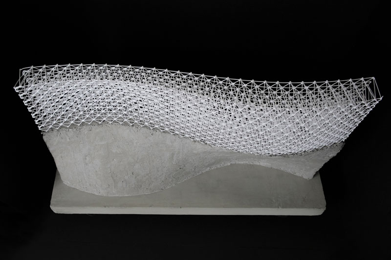 A concrete model created using digitally fabricated mesh mould. Image via Gramazio Kohler Research, ETH Zurich.