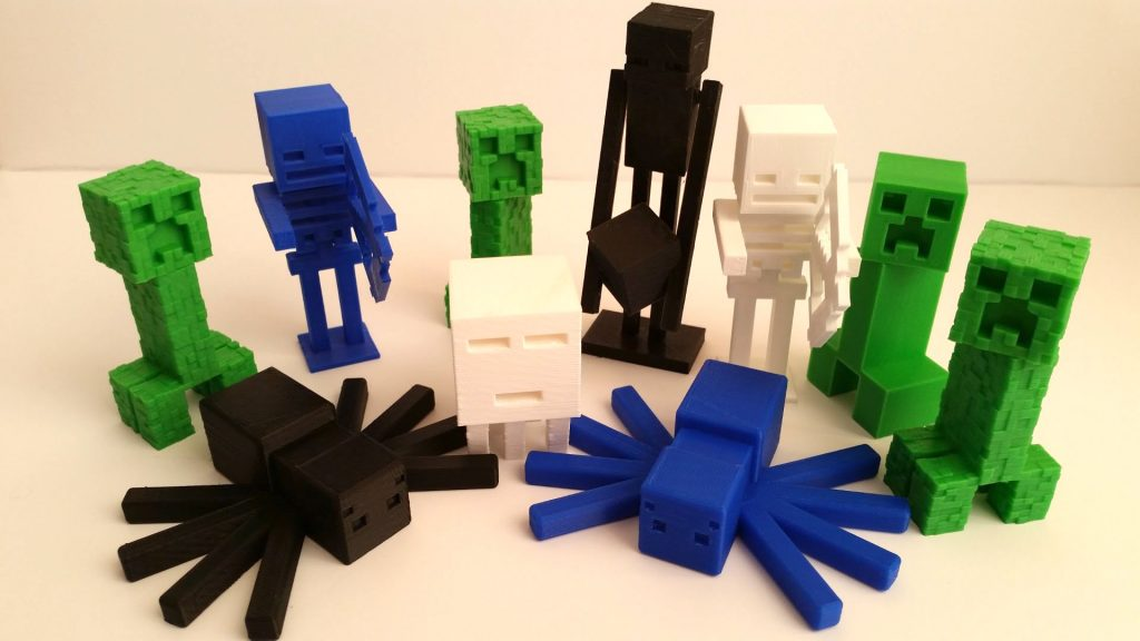 3D printed Minecraft mobs Photo via: 3dwithus Youtube