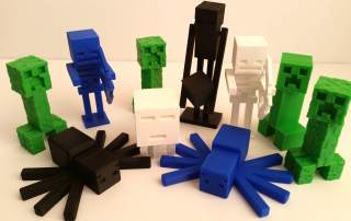 Minecraft characters are ideal 3D printing fodder. Photo via: 3dwithus Youtube