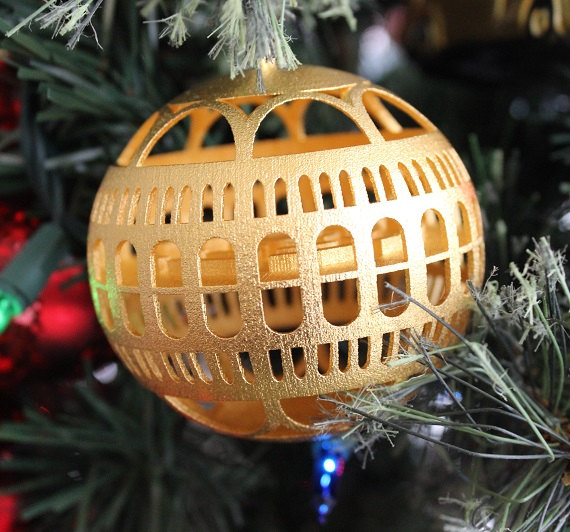 3D printed, gold plated Library of Congress ornament designed and created by Vicky Somma. Photo via: VickyTGAW on etsy