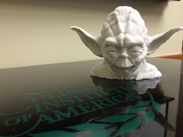 The Culinary Institute of America's 3D printed Yoda. Image via @CIACulinary on Twitter.