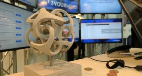 3yourmind's winning trophy for the 2016 Formnext Start-Up Challenge. Photo by Michael Petch.