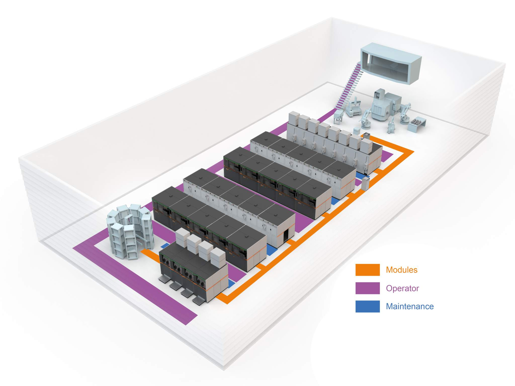 Graphic showing production method in the 'AM Factory of tomorrow'. Image via Concept Laser