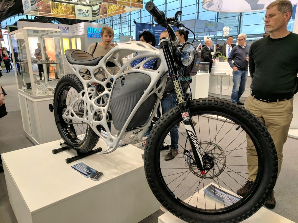 The 3D printed Lightrider motorcycle from Airbus APWorks works using an electric motor. Photo by Michael Petch.