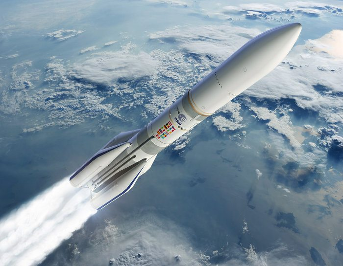 Artist's representation of the Ariane 6 launch Image via: ESA, David Ducros