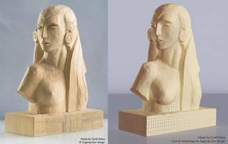 The photo of and original object and its Scan in a Box 3D counterpart, made by German design company Augenpulver.