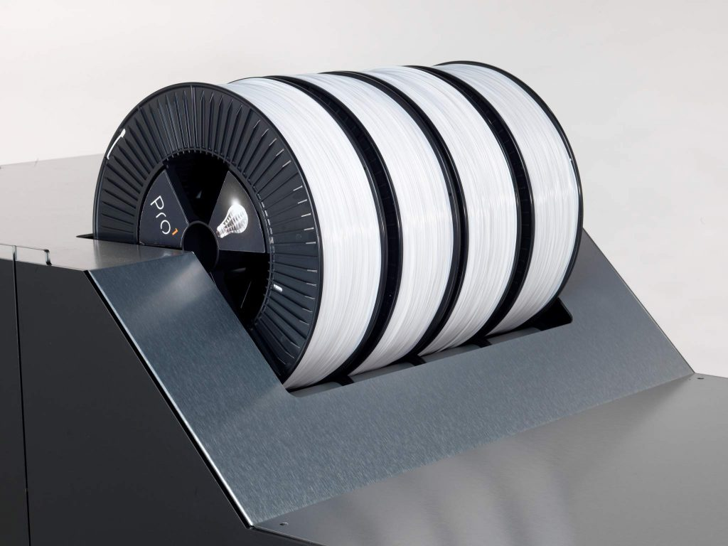 Storage for up to 4 spools of filament. Photo via: Builder 3D