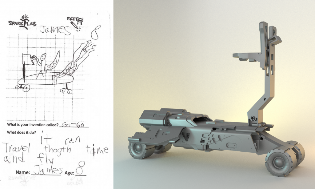 The Skateboard of the Future designed by a child alongside its 3D digital render Image via: Formlabs