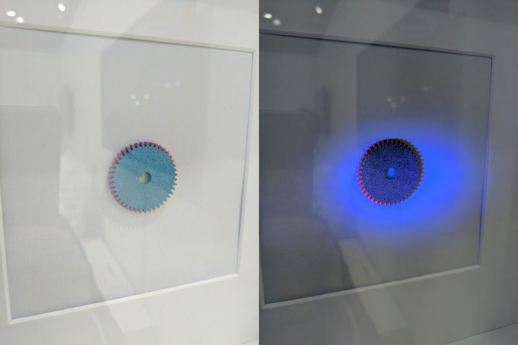 HP Multi Jet Fusion embedded Quantum Dots. Photo by Michael Petch