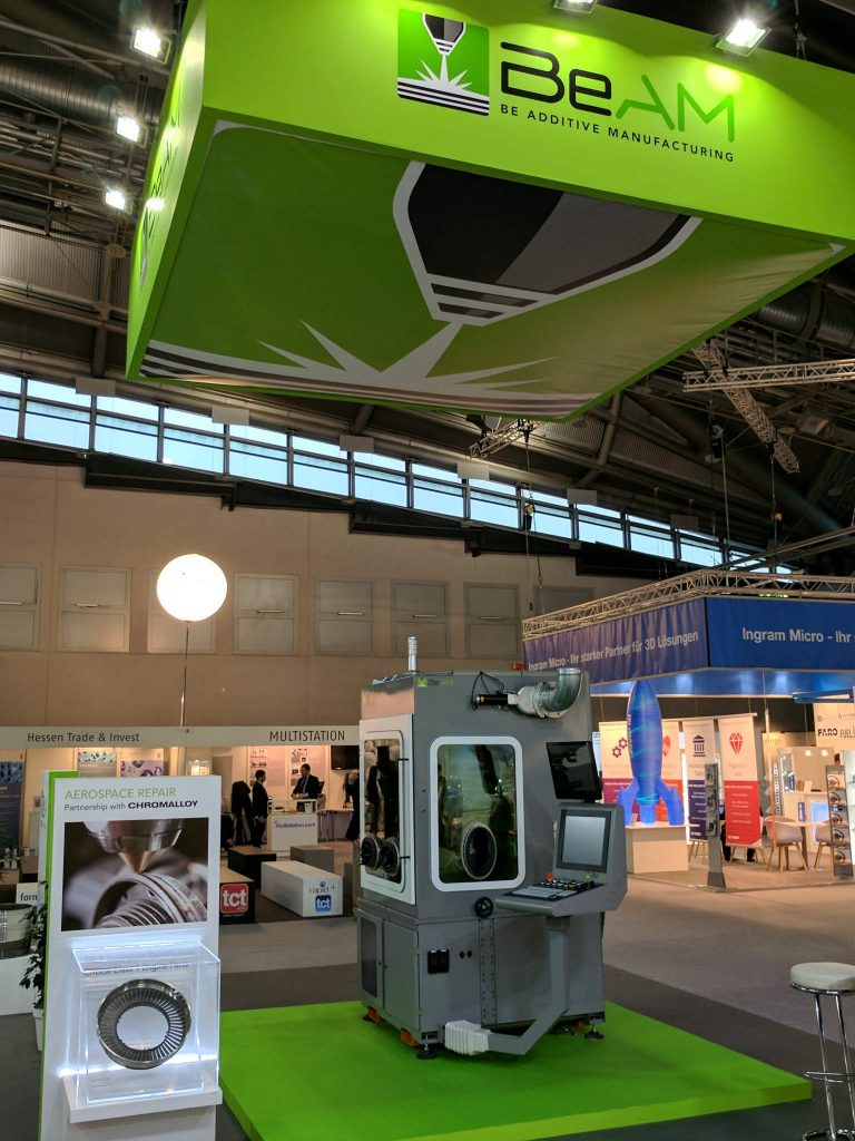 The BeAM (Be Additive Manufacturing) booth at Formnext 2016 in Frankfurt, Germany. Image via: Michael Petch for 3DPI