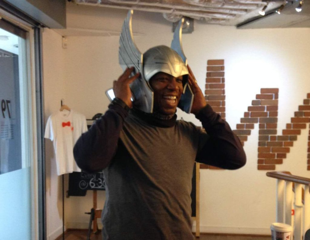 Trying on a 3D printed Thor helmet in the iMakr store. Image via: Beau Jackson