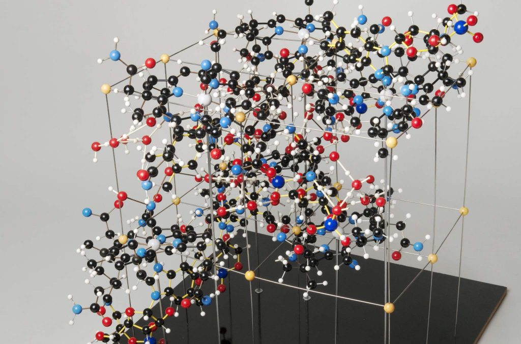 Two ball and stick molecule structures by Dorothy Hodgkin. Photo via: London Science Museum.