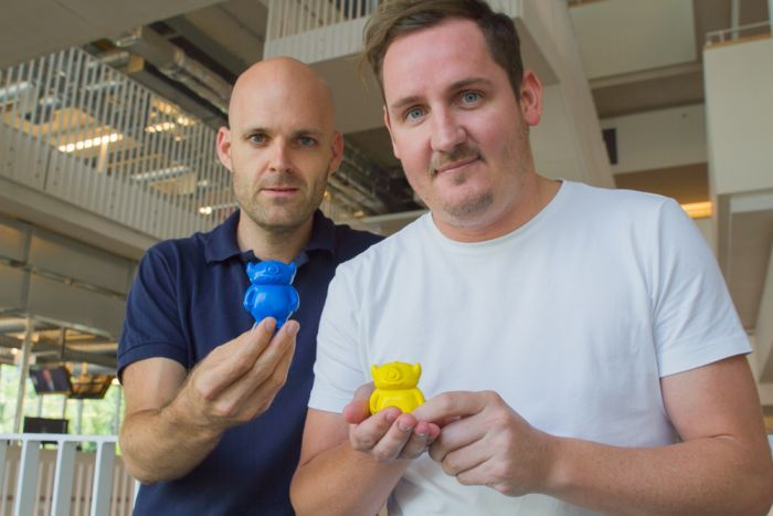 Christian McKechnie and Ben Lees with their creations. Photo via ABC Brisbane.