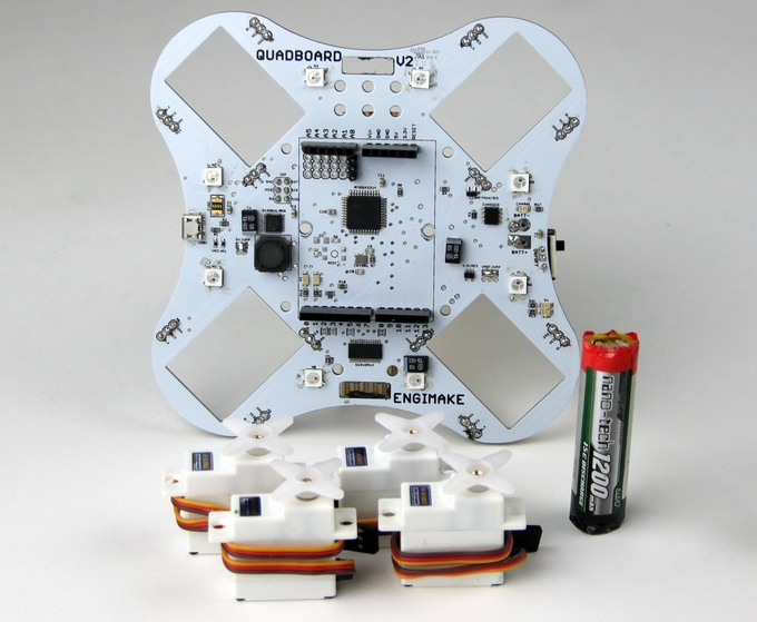 The Quadbot maker kit. Image via Engimake