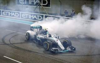 Nico Rosberg celebrating championship win. Photo by David Davies/PA