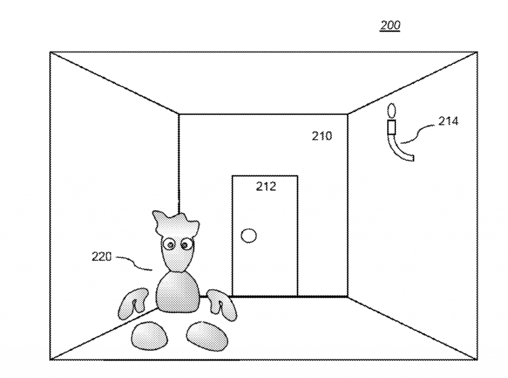 Image of 'Blobman' in a basic game environment from Sony's 3D printing patent. Image via: United States Patent and Trademark Office