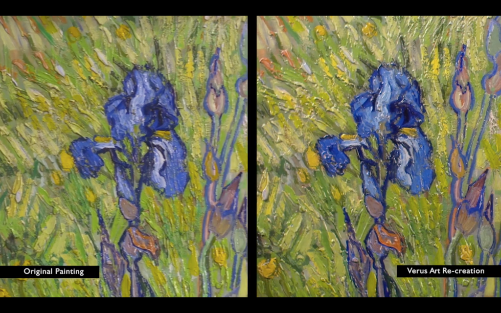 Comparative detail of the original Iris by Van Gogh Image via: verusart.ca