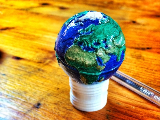 3D printed 'Screwable two-part globe earth in 3D by nathansquire67 on thingiverse