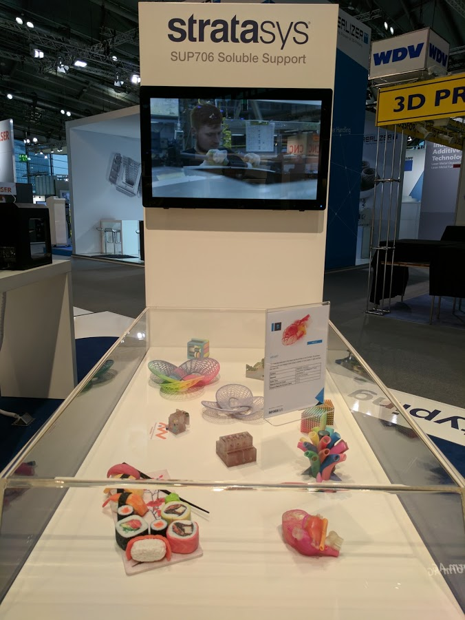 Objects printed with the Stratasys SUP706 soluble support at Formnext 2016. Photo by: Michael Petch