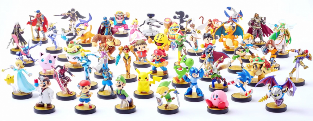 Nintendo's range of amino figurines that unlock in-game extras when applied to a WiiU remote. Image via: Amiibo Dojo