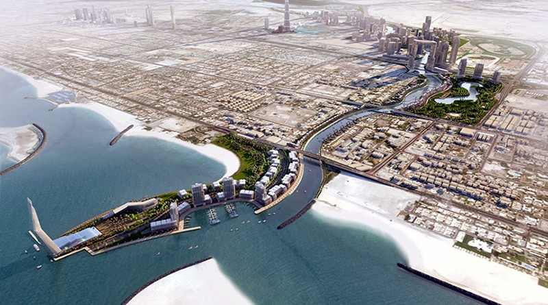 Concept art of the finished Dubai Water Canal. Image via: ventureonsite