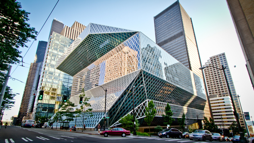 Seattle's Public Library is a fine sight. Image via Gavroche Enterprises Corp., DBA Marketeering Group