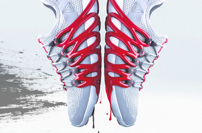 Reebok's Liquid Speed with 3D printed red accents. Image via Innovation In Textiles.
