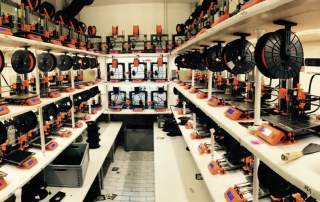 One of Prusa's 3D printer farms. Photo via: josefprusa on Twitter