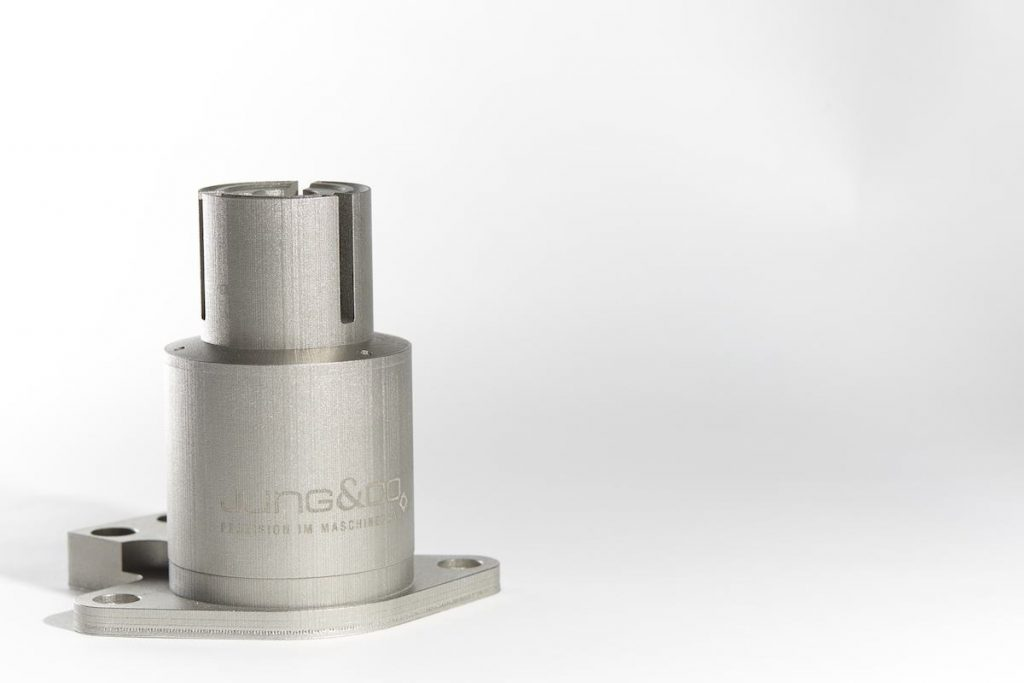 A finished laser sintered can filler valve. Photo via: Jung & Co.