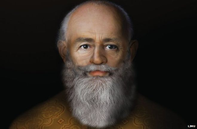 Face Lab's artistic rendering of the original Saint Nicholas. Image via: LMJU