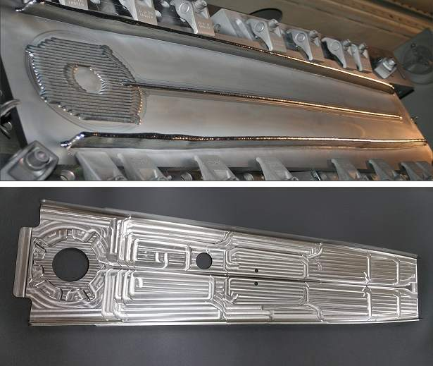 An EBAM 3D printed aircraft upper spar part made for Airbus. Photo via Sciaky