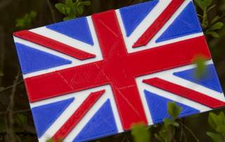 3D printed Union Jack flag Photo by Thingiverse user & designer alzbiff
