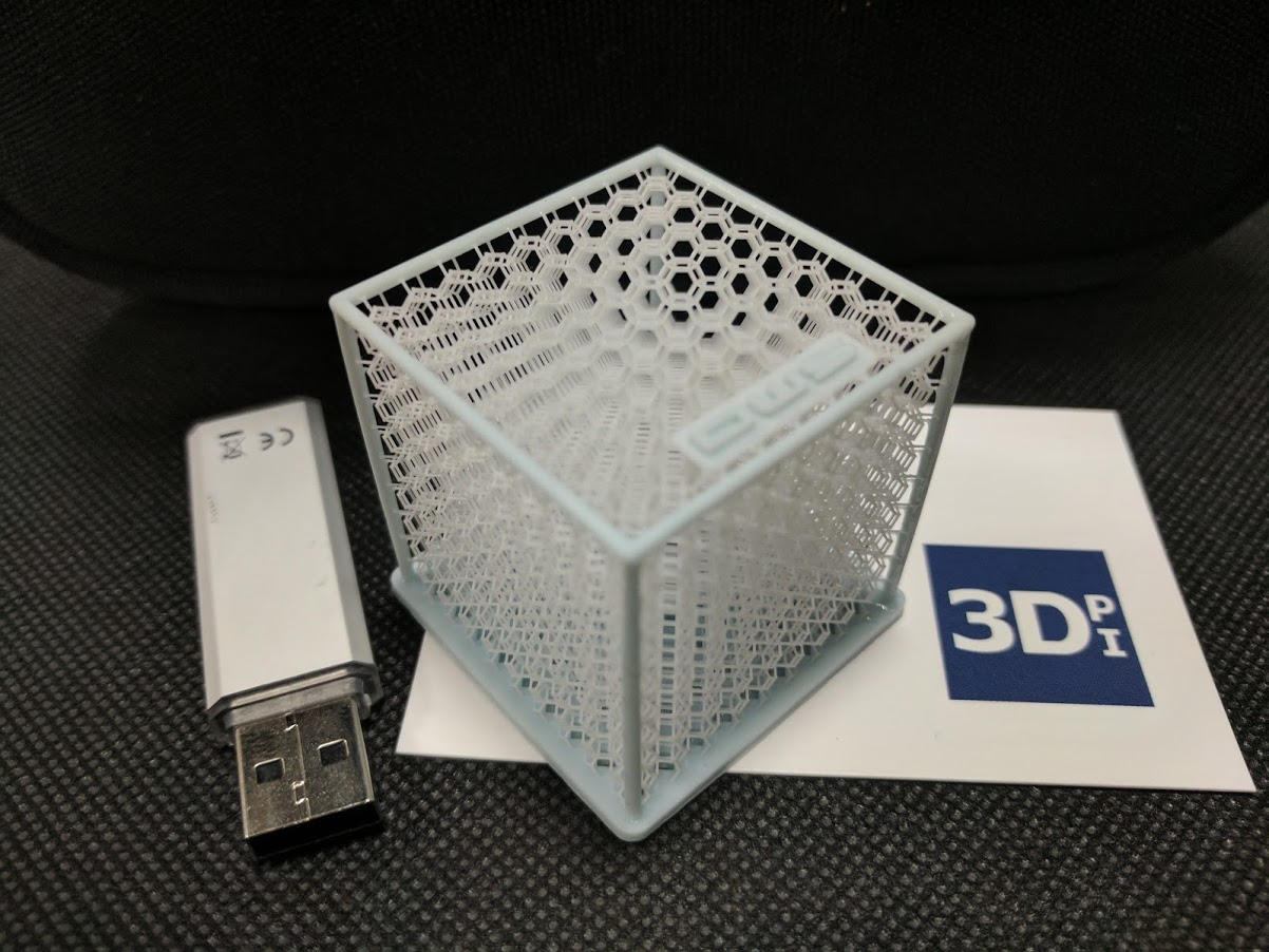 DWS 3D printed honeycomb white cube. Photo by Michael Petch.