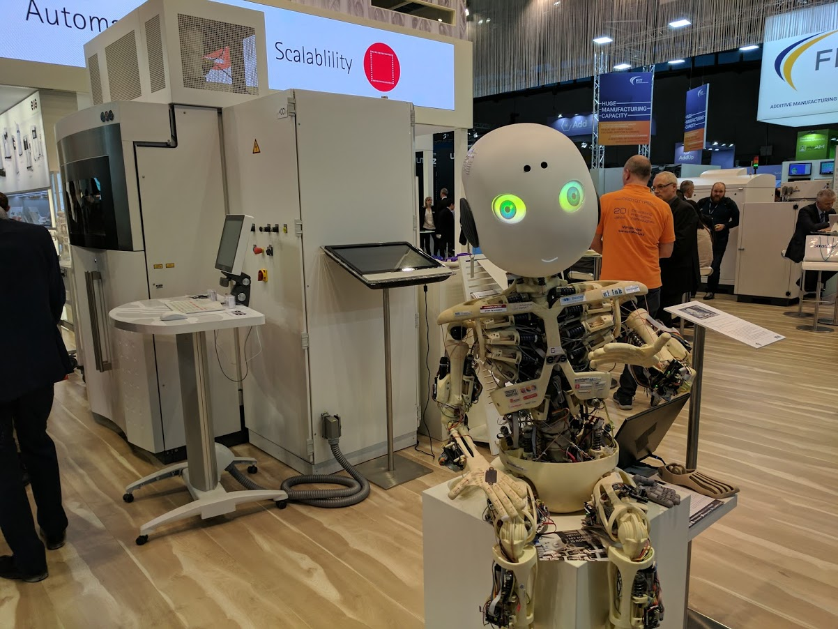 The Roboy, showcased by EOS at FormNext, similarly used PA 2200 and the Formiga 110 machine. Photo by Michael Petch.