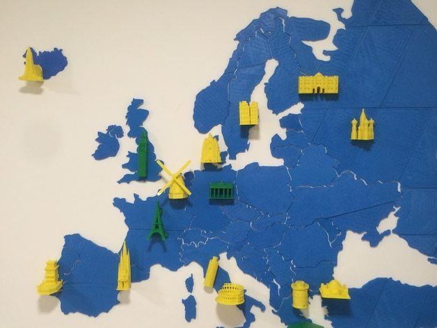 3D printed map of Europe with model landmarks. Photo by Thingiverse user and designer utechlab