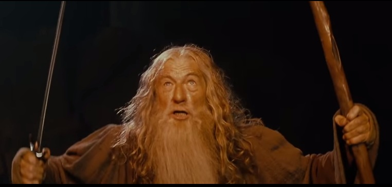 Gandalf the Grey acts as sentinel in Lord of the Rings. Screenshot via: New Line Cinema