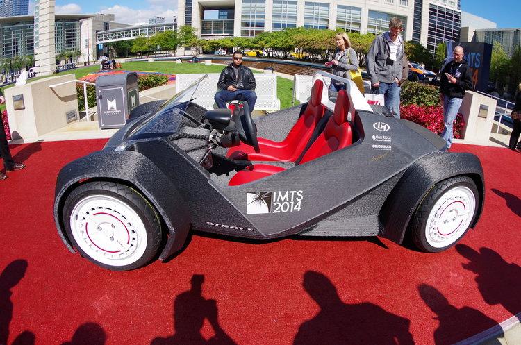 The 3D printed car from IMTS 2014. Image via Cincinnati Inc.