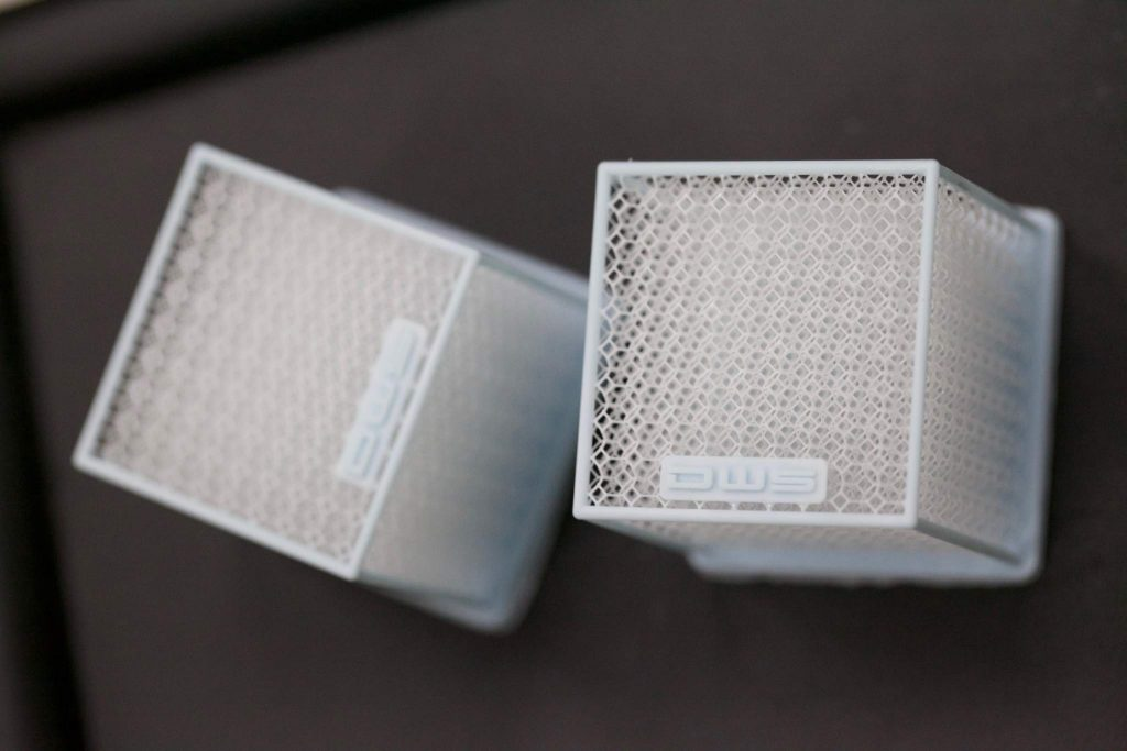 Honeycomb cubes realized by a DW 029X professional 3D printer. Photoby DWS.