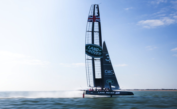 A Landrover racing sailboat. Photo via: Land Rover BAR on Twitter.